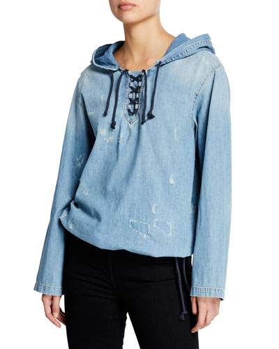 Distressed Denim Lace-Up Hoodie