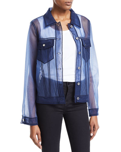 Tulle Denim Button-Front Jacket