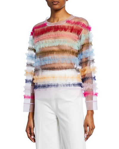 Long-Sleeve Multi Striped Tulle Top