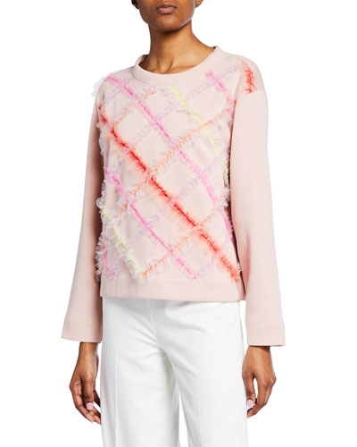 Diagonal Tulle Sweater