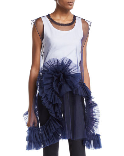 Ruffled-Skirt Sheer Tulle Dress