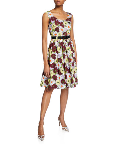 Floral-Print Sleeveless Dress with Belt