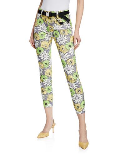 Floral Print Skinny-Leg Pants