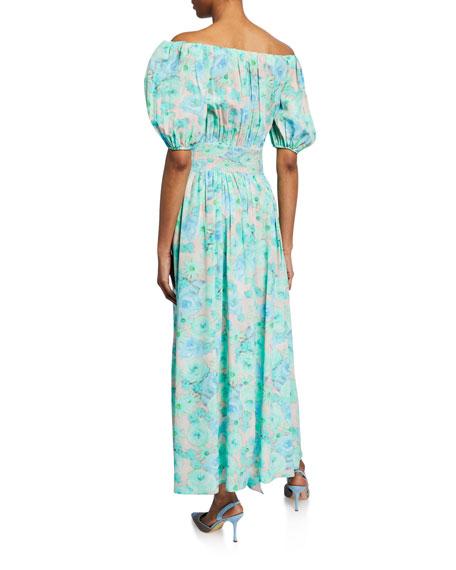 Floral-Print Off-the-Shoulder Silk Dress