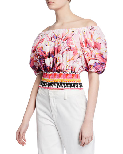 Off-the-Shoulder Flower Pot Print Top