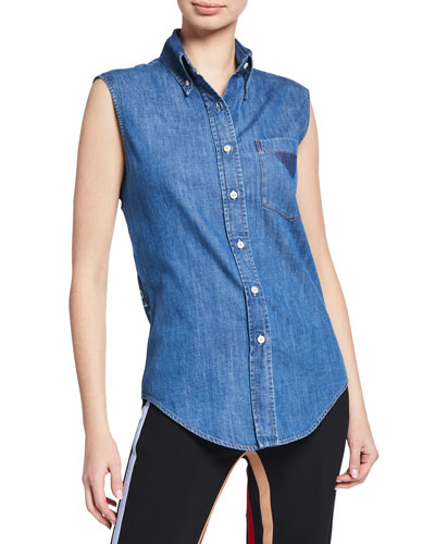 Sleeveless Vintage Button-Down Denim Top