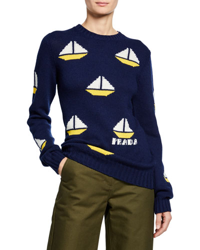 Sailboat Jacquard Wool-Cashmere Sweater
