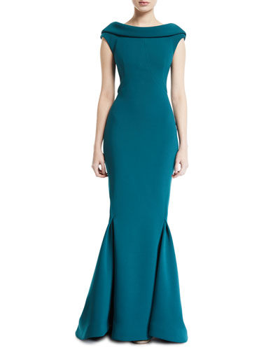 Cowl-Back Bonded Crepe Gown
