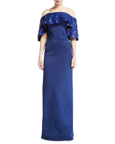 Off-the-Shoulder Draped-Sequined Gown