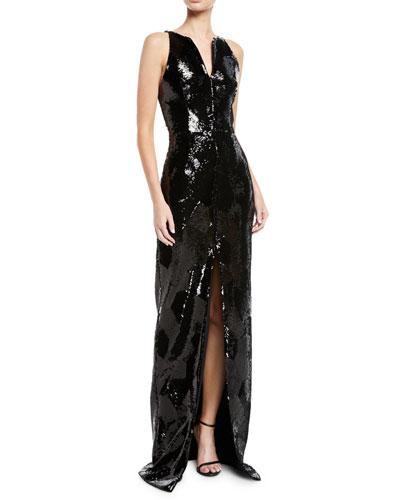 Split-Neck Sleeveless Geometric-Sequin Evening Gown