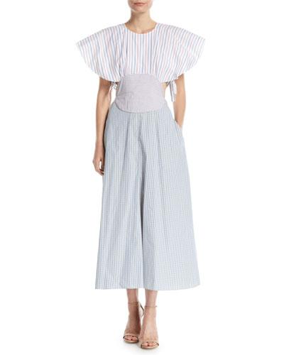 Venn-Diagram Tie-Back Flutter Sleeve Dress