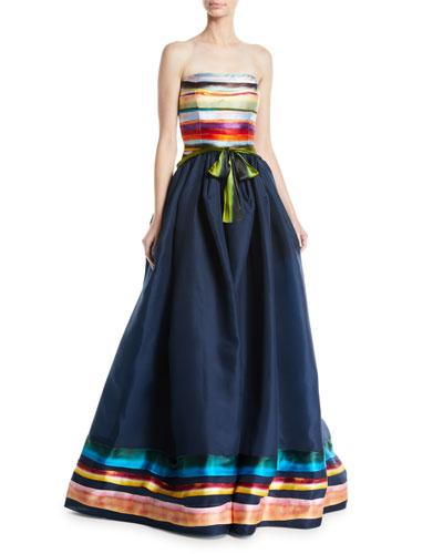 Midnight Rainbow Strapless Gown