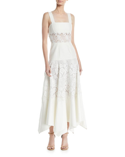 Square-Neck Sleeveless Lace-Stripe A-line Dress