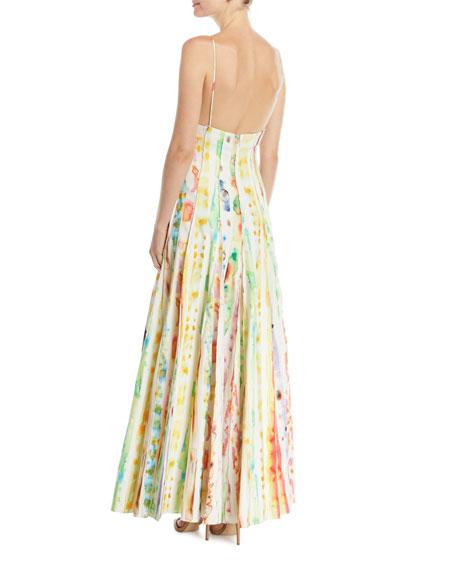 Million Pleats Watercolor Rainbow Dress