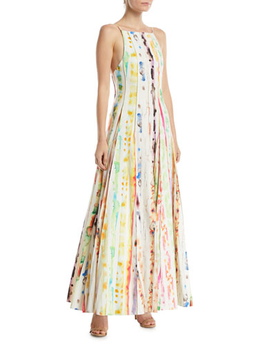 Million Pleats Watercolor Rainbow Dress