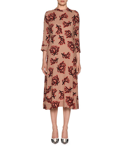 3/4-Sleeve Branch-Print Midi Dress