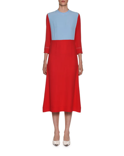 3/4-Sleeve Colorblock Midi Dress