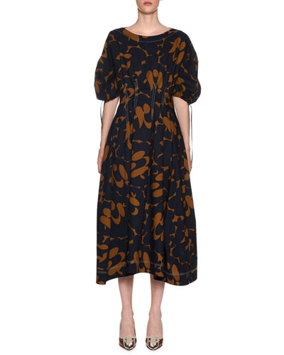 Bateau-Neck Floral-Print Midi Dress