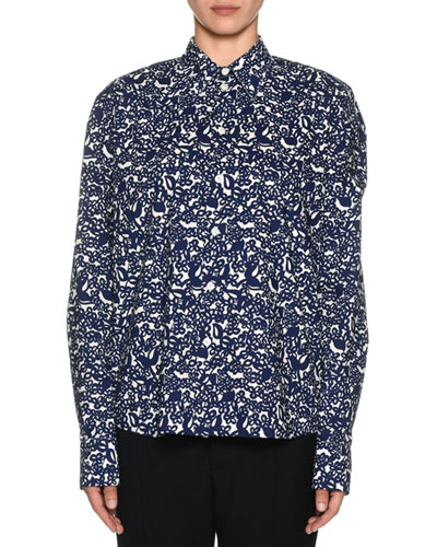 Long-Sleeve Floral Print Polo Shirt
