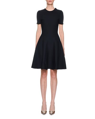 Two-Tone Short-Sleeve Fit-&-Flare Dress