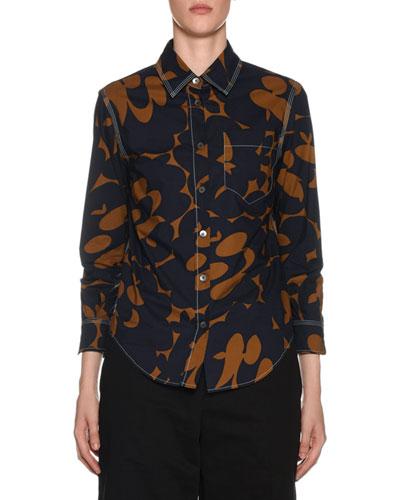 3/4-Sleeve Floral Print Polo Shirt