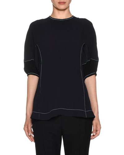1/2-Sleeve Topstitched Blouse