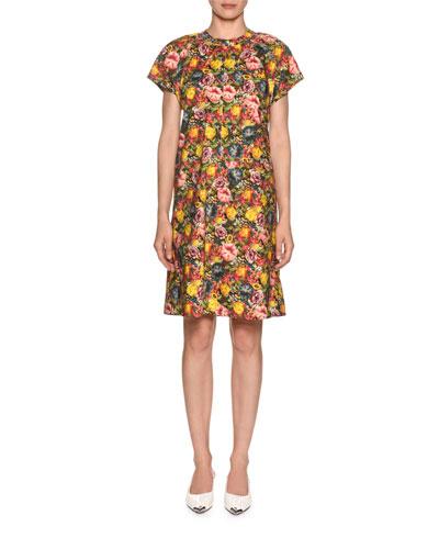 Short-Sleeve Floral-Print Poplin Dress