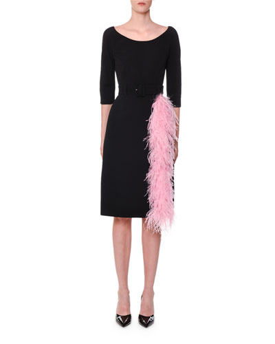 3/4-Sleeve Belted Feather-Trim Dress