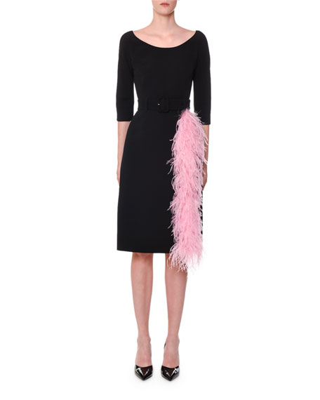 Prada 3/4-Sleeve Belted Feather-Trim Dress
