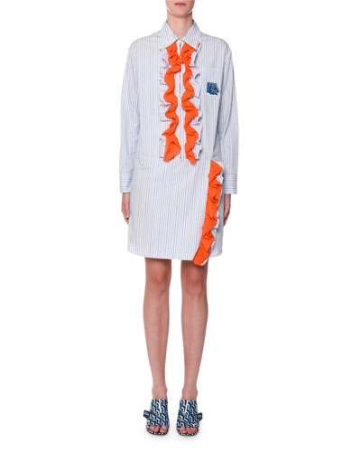 Contrast-Ruffled Striped Shirtdress, Blue/Orange
