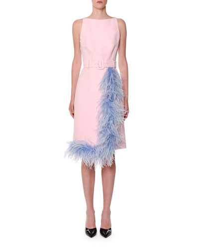 Sleevless Belted Feather-Trim Dress