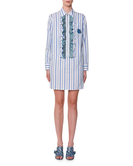 Prada Floral-Ruffled Striped Shirtdress