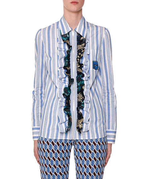 Prada Striped Button-Front Shirt with Floral-Ruffles