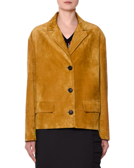 Prada Button-Front Suede Jacket