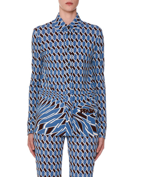 Prada Argyle-Jersey Button-Front Shirt