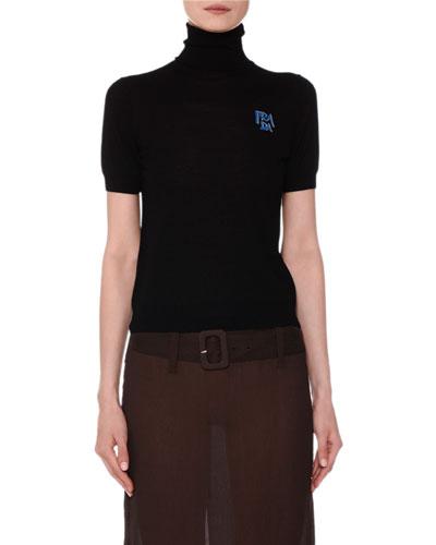 Short-Sleeve Turtleneck Logo Sweater
