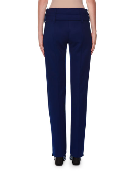Mid-Rise Belted Straight-Leg Pants, Navy