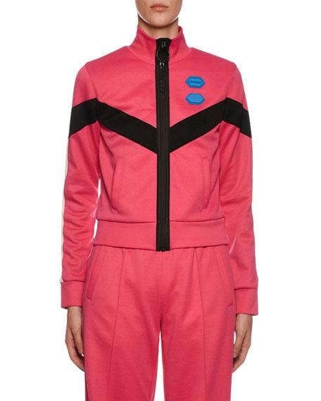 Off-White Chevron-Striped Zip-Front Sweatshirt