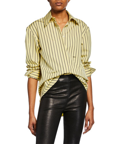Long-Sleeve Striped Cotton Blouse