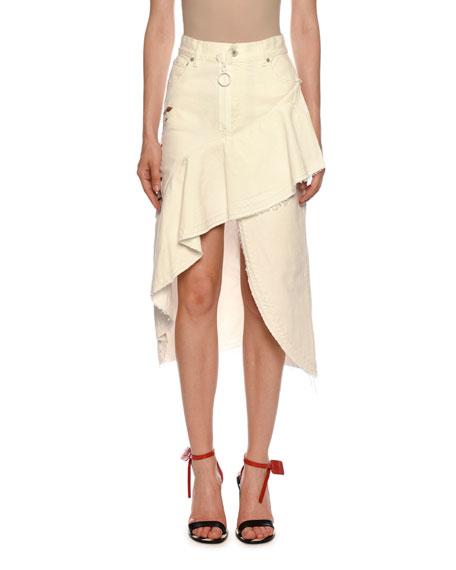 c5255337c Off-White Ruffled Denim High-Low Denim Skirt