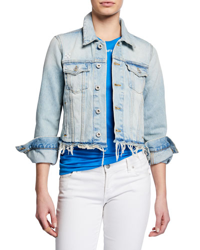 Distressed-Hem Denim Jacket