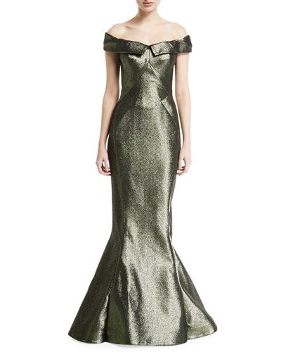 Off-the-Shoulder Shimmer Trumpet Evening Gown