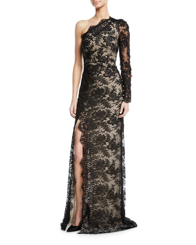 One-Shoulder Lace Overlay Gown