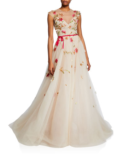 Embroidered Tie-Waist lllusion Ball Gown