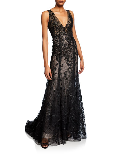Embroidered-Tulle V-Neck Mermaid Gown
