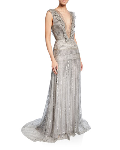 Deep-V Embroidered Lame Ruffle Gown