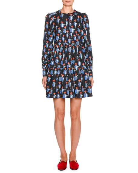 Double J Cancan-Print Long-Sleeve Dress