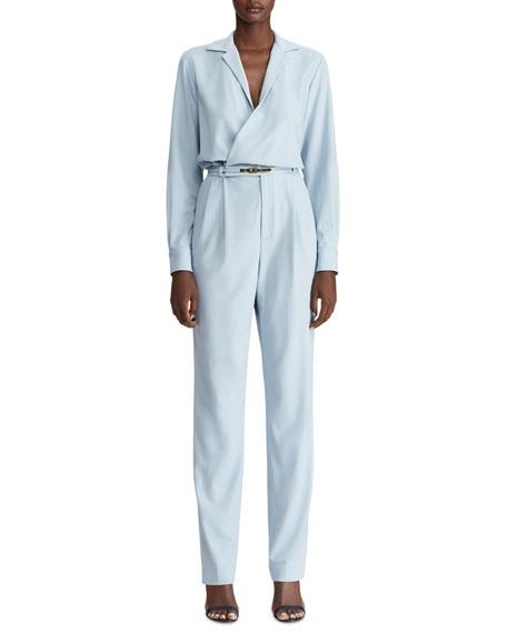 Ralph Lauren Collection Judson Belted Luxury Wool Jumpsuit