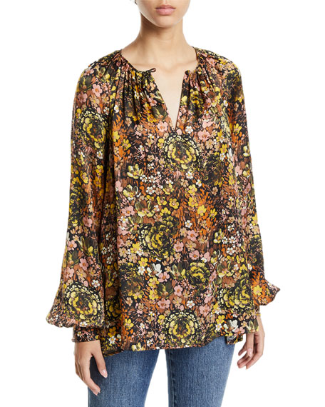 Co Floral Silk Raglan-Sleeve Tunic