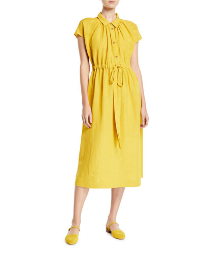Cap-Sleeve Drawstring-Waist Shirtdress